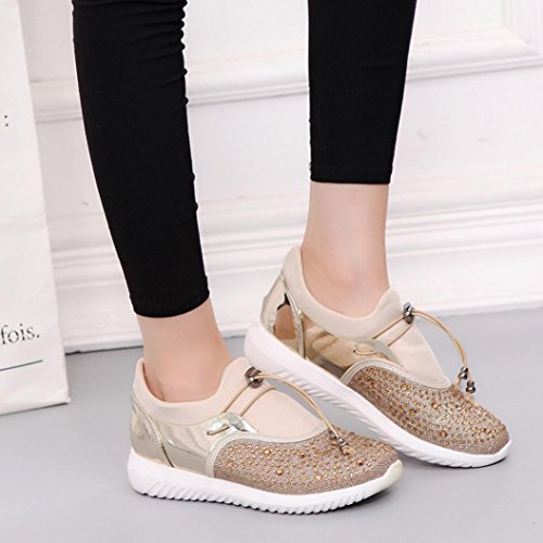 Bovake Casual Sneakers Shoes, Men's Women's Couples Unisex Casual Sneakers Sports Running Breathable Mesh Shoes - Gym Running Jogging Trainers Fitness Lightweight Shoes Gold