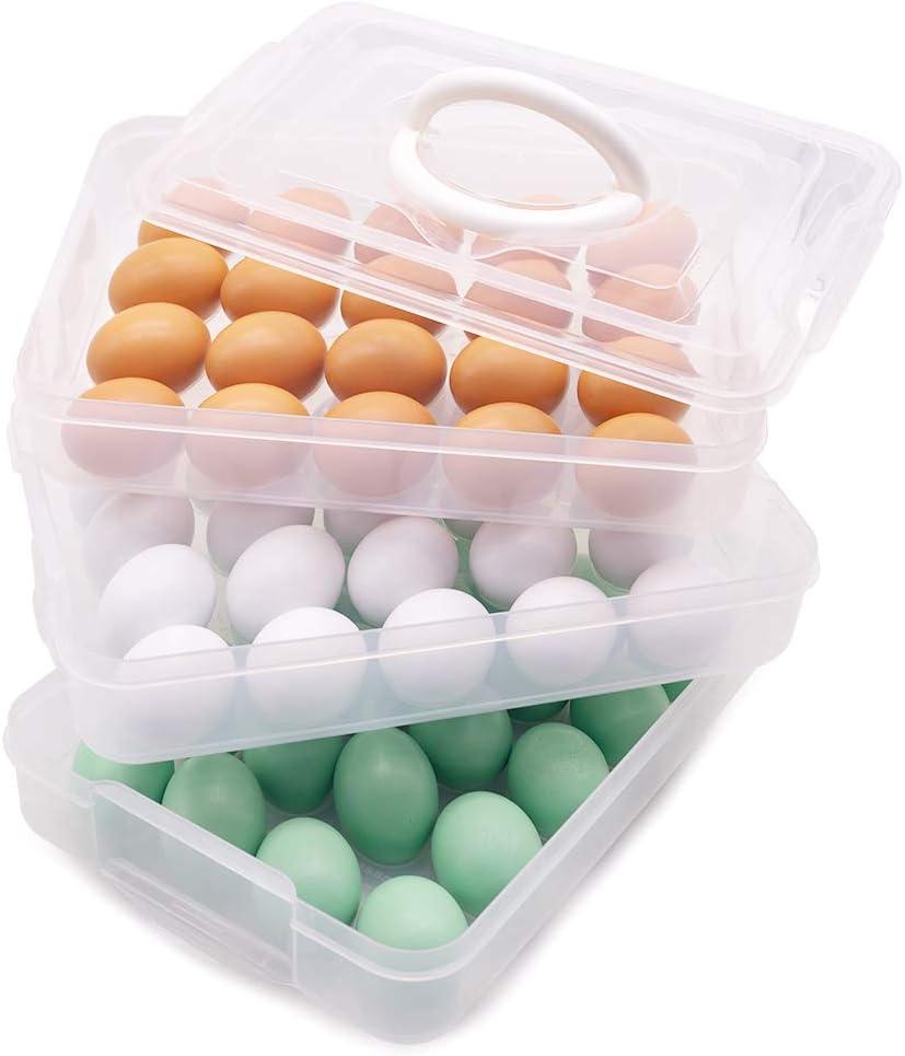 Un 3 Strati Deviled Egg Vassoio con Coperchio Uovo Elemento Portante Scatola Dispenser Contenitore con Maniglia per 60 Uova Moligh doll Holder Egg