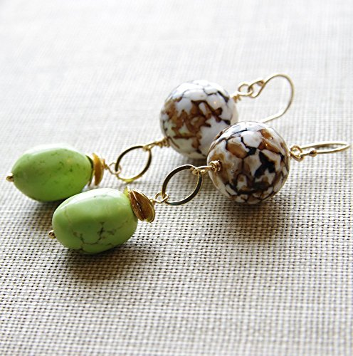 Agate Earrings 14kt Gold Filled Lime Green Howlite 24kt - Turtles Vermeil