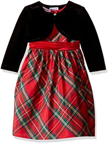 Blueberi Boulevard Little Girls' Toddler Plaid Dress With shrug, Red, 4T