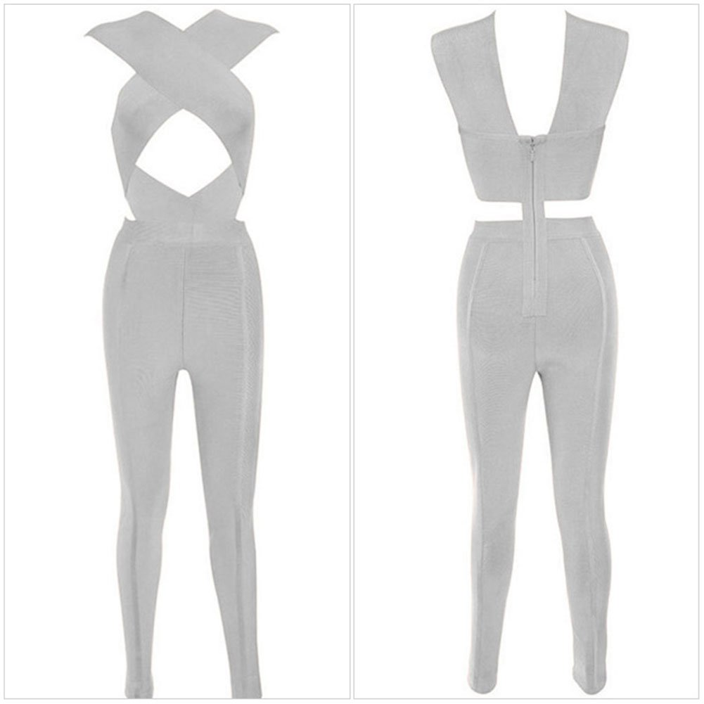 YeeATZ Cross Bust Bandage Jumpsuit(Gray,S) by YeeATZ