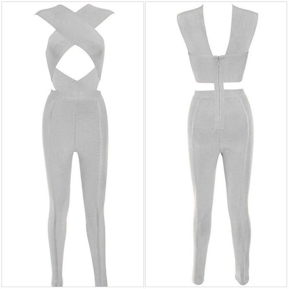 YeeATZ Cross Bust Bandage Jumpsuit(Gray,S)