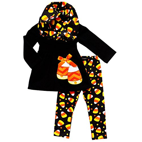 So Sydney Toddler & Girls Fall Halloween 3 Pc Outfit with Leggings Infinity Scarf (XXXL (8), Candy (Halloween Kids Outfits)