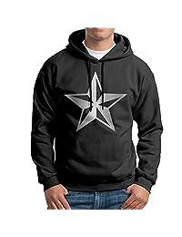 Men Nautical Star Platinum Logo Hooded Sweatshirt Black