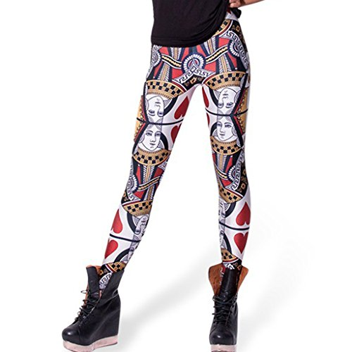 Women Unusual Poker Queen of Hearts Leggings Thin Pants Winter Clothing,One Size,No15