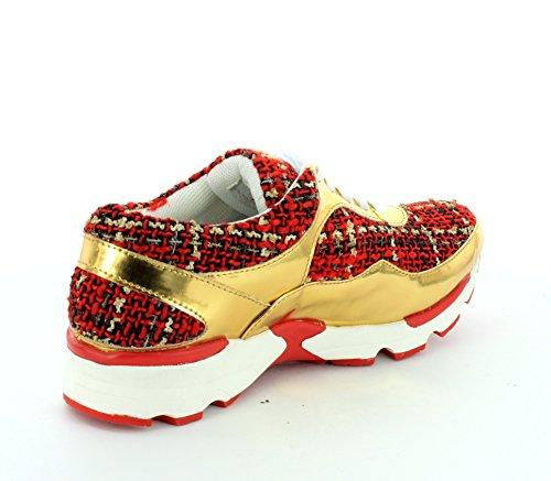 Jeffrey Campbell Femmes Course Chaussures De Marche Or Rouge