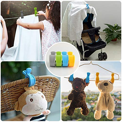 Blue + Green + Gray + Yellow Pram Toy Holder 8 Pack LHKJ Stroller Pegs Pram Pegs Car Seat Cover Clips Blanket Seat Cover Clips Muslin and Toy Holder,