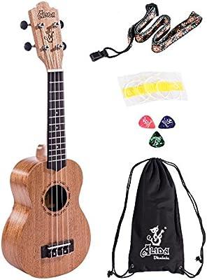 Alida Ukuleles Mahogany Soprano Ukulele Bundle included Carrying Bag, Strap, Spare Strings and Picks for Adults Children Students Kids Ukulele Kit