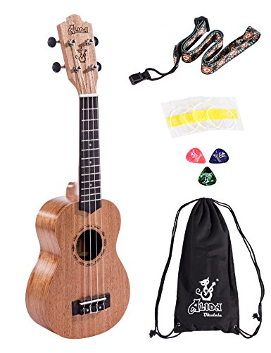Chinese Handcraft Bone (Alida Hawaiian Uke Handmade Mahogany Soprano Ukulele Starter Kit Pack with Carrying Bag, Strap, Spare Strings and Picks for Adults Kids Children Students)