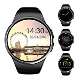 TKSTAR Bluetooth Smart Watch,Sleeping and Heart Rate Monitoring Smart Watch,Round Touch Screen Smart Watch,Compatible with Iphone and Android (BLACK)