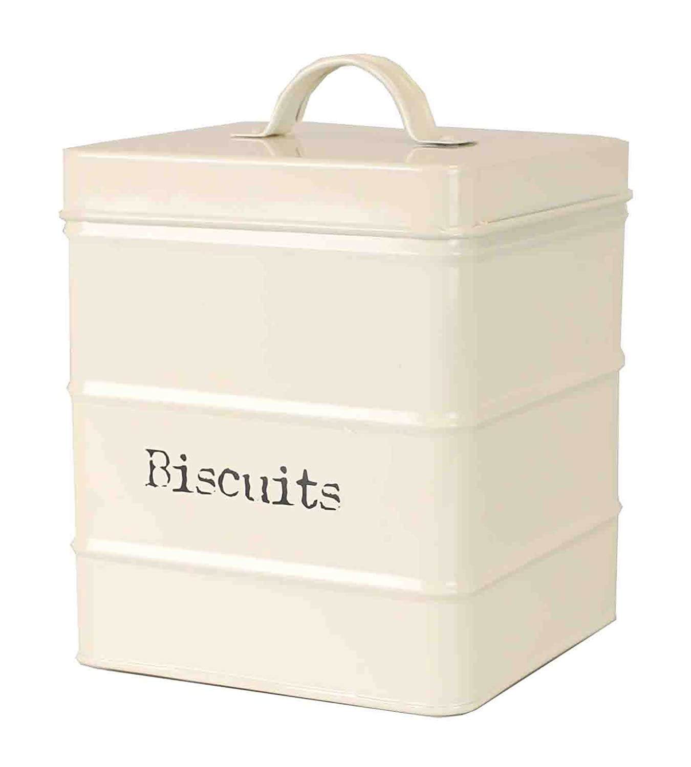 Home Basics CS47393 Biscuits, Ivory Tin Canister, One Size, Copper