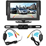 Wireless Backup Camera for Car and Monitor kit Waterproof Night Vision License Plate Camera with 7 Infrared (IR) LED Rear View Camera 4.3 Inches Display