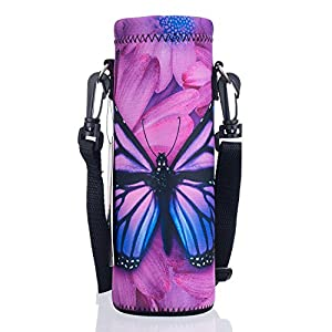 AUPET Water Bottle Carrier,Purple Butterfly 500ML Water Sport Bottle Cover Pouch Insulated Soft Sleeve Holder Case +Shoulder Strap