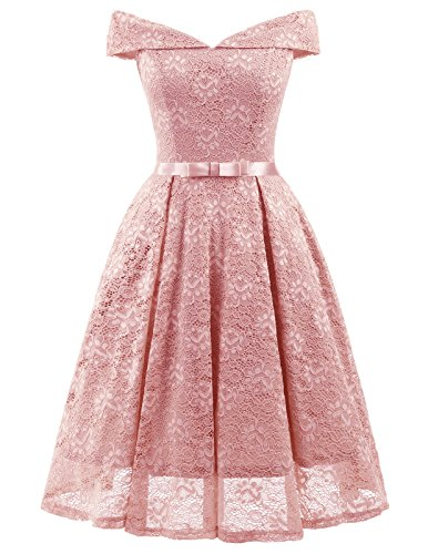 Shoulder Line Lace V Pink Wedding A Midi Bridesmaid Neck Cocktail Dress Light Stretchy Off Women's FRwq11