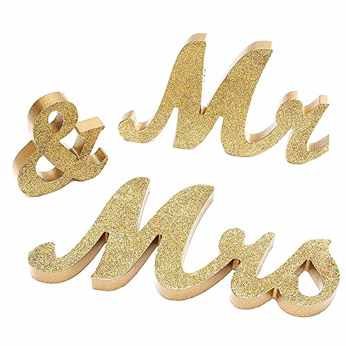 Mr and Mrs Sign Wedding Sweetheart Table Decorations,Mr and Mrs Letters Decorative Letters for Wedding Photo Props Party Banner Decoration,Wedding Shower Gift (Gold Glitter) (Glitter Wedding)