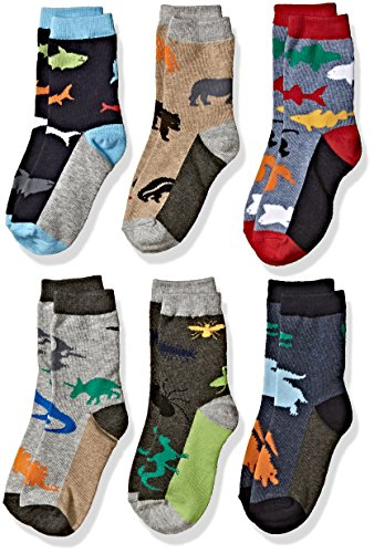 - Jefferies Socks Boys' Little Fun Assorted Animals Pattern Cotton Crew Socks 6 Pair Pack, multi, Toddler