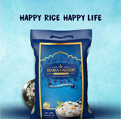 DARIA-I-NOOR 1121 Basmati Rice (Long Grain, Steam) (5 kg) 2021 August [Basmati rice]: Naturally curated and nurtured with the utmost care [Aged to perfection]: Naturally aged basmati Aged for 2 years in paddy before packing [Flavourful and aromatic]: Ultimate taste and sweet earthy aroma enhance the rice-eating experience
