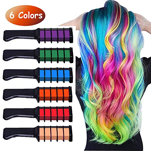 (Runlong Hair Chalk Comb 6 Colors, Temporary Hair Color Dye for Teen Girls, Cosplay, Halloween, Ball Party DIY Hair Style Highlight, Easy Dye and Wash Out, Christmas Birthday Gifts For)