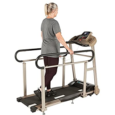 EXERPEUTIC TF2000 Recovery Fitness Walking Treadmill with Full Length Hand Rails, Deck Cushions and Heart Rate Monitoring
