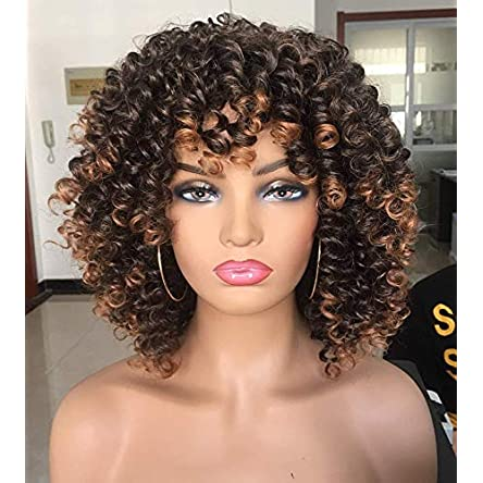 Annivia Short Curly Wig for Black Women with Bangs...