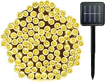 Blanco c/álido Luces de cadena con energ/ía solar 72 pies 200LED 8 modos Luces de exterior Luces de Navidad solares Luces de hadas estrelladas a prueba de agua Iluminaci/ón ambiental para Navidad Patio