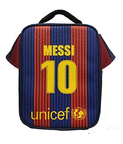 Forever Fanatics Lionel Messi #10 Barcelona Soccer Jersey Lunch Bag Premium Fan Gift Unique School Lunch Box (Soccer Jersey Lunch Bag, Lionel Messi)