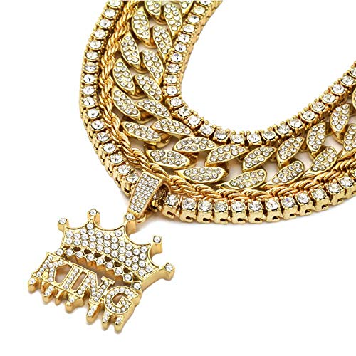 Fully Gold Plated - L & L Nation 5 pcs Bundle Set 14k Gold Plated Hip Hop Fully Cz Iced Out Chain King Drip Pendant