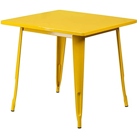 Amazon.com - Square Industrial Table Yellow Metal Small ...