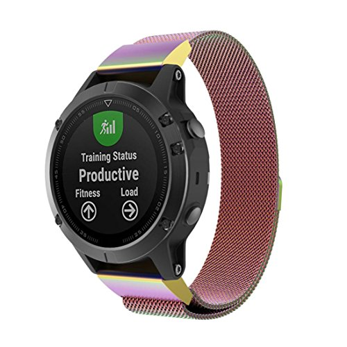 For Garmin Forerunner 935 Band,Esharing Stainless Steel Magnetic Strap Luxury Replacement Wristband Bracelet For Garmin Forerunner 935 Smart Watch (Multicolor) by Esharing