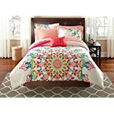 Teen Girls Twin/Twin XL Rainbow Unique Prism Pink Blue Green Colorful Patten Bedding Set (6 Piece Bed in a Bag)