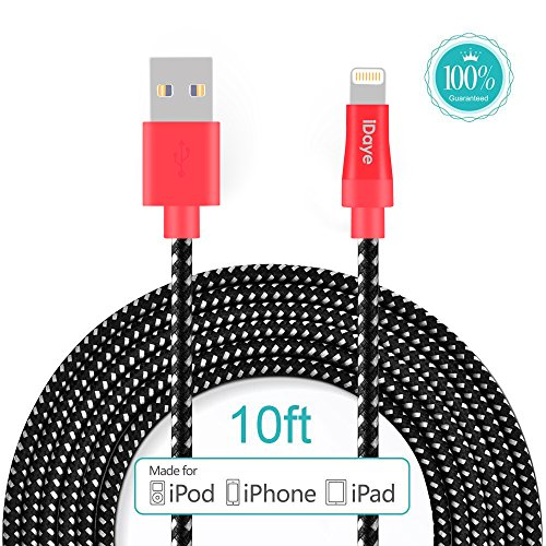 Price comparison product image [apple cable MFI Certified ] iDaye 3 M / 10 ft Lightning 8 pin to USB Sync Cable Apple Charging Cord for iPhone 6s Plus / 6s / 6 / 6 plus / 5 / 5s , iPad Air and Mini , iPod (Red&black)