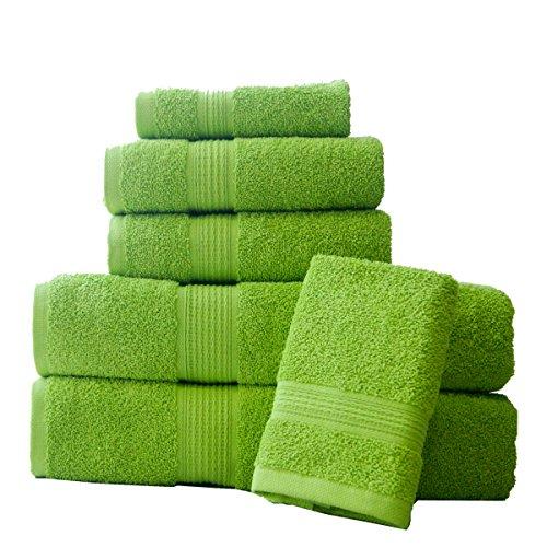 Lime Spa - ELEGANCE SPA 100% Cotton Super Absorbent 6 Piece Towel Set, Medium, Lime Green, 6