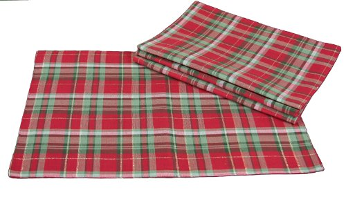 Christmas Tablescape Decor - Christmas Tartan Double Layers Holiday Placemats - Set of 4