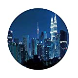 iPrint Polyester Round Tablecloth,Cityscape,Kuala Lumpur Skyline Night KLCC Twin Towers Malaysian Landmark Monochromic Photo,Navy Black,Dining Room Kitchen Picnic Table Cloth Cover,for Outdoor Indoor