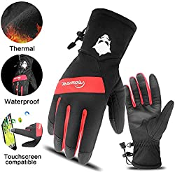 RIGWARL Ski Gloves Touchscreen Men Thermal Snow Gloves Winter Waterproof Gloves for Men,Fleece Liner Cold Weather Gloves for Skiing,Motorcycling,Cycling,Outdoor Sports