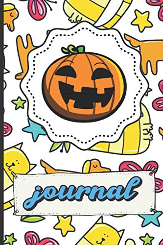 Halloween Pumpkin Journal: Dogs Cats Butterflies Colored Stars Pattern Background Notebook for Writing, Sketching, Drawing and Note Taking. Great Gift For Kids Parents And Adults -