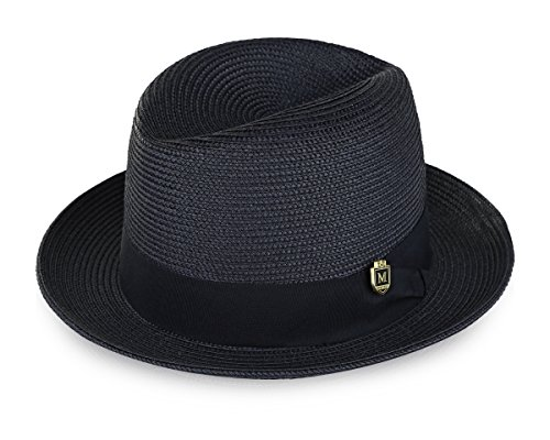 Ribbon Trimmed Jeans - MONTIQUE Braided Straw Flat Brim Center Crease Fedora Hat with Matching Grosgrain Band H-57 (Medium, Navy)