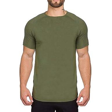 JiXuan T-Shirt de Musculation pour Hommes Entraînement Physique Athletic  Fitness Tee-Shirt à 42e7429ddd1