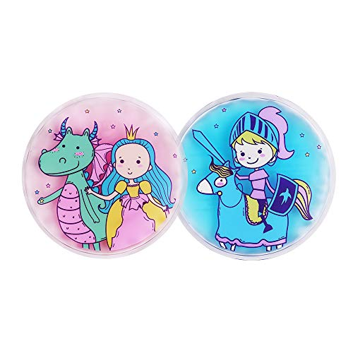 Hilph Kids Ice Pack for Boo Boos Injury, 2 Pack Reusable Fun Cartoon Ice Pack Kids Hot Cold Pack for Childrens Pain Relief, Sore Joints, Fevers| Neck, Head, Arms, Legs, Body - 4.3 Inch Each