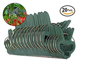 Ram-Pro 20 piece Green Gentle Gardening Plant & Flower Lever Loop Gripper Clips, Tool for Supporting or Straightening Plant Stems, Stalks, and Vines