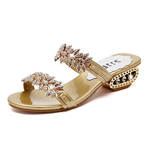 Womens Sandals Rhinestone Open Toe Thick Heel Sandals Slippers Ladies Boho Beach Sandals Shoes Gold