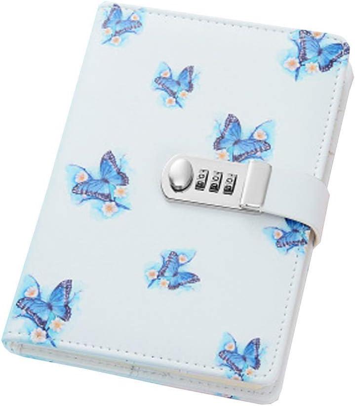 Diario segreto con lucchetto a combinazione con scomparti per carte di credito e portapenne Blue Butterfly formato A5 in pelle PU