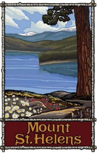 Northwest Art Mall Mount St. Helens Lake Trails Mountain Unframed Poster Print by Paul