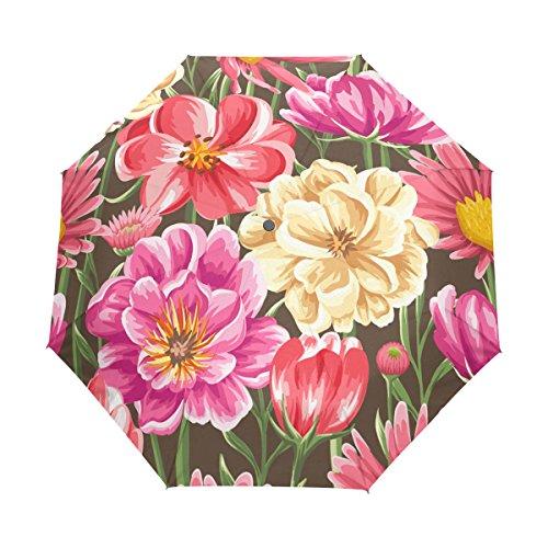 Tropical Floral Print UPF 50+ Anti-UV Parasol Waterproof Windproof 3 Folds Auto Open Close Lightweight (Dome Stem Canopy)