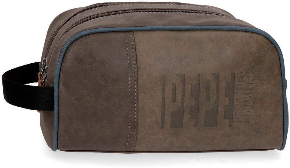 Neceser Doble Compartimento Adaptable Pepe Jeans Max marrón