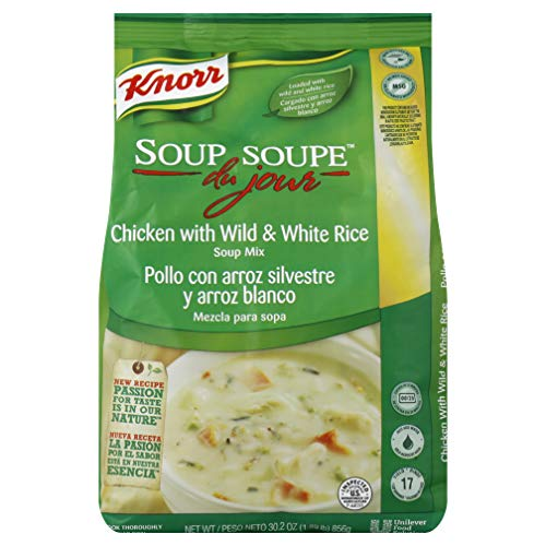 Knorr Professional Soup du Jour Chicken with Wild and White Rice Soup Mix No added MSG, 0g Trans Fat per Serving, Just Add Water, 30.2 oz, Pack of 4