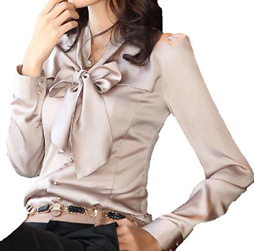 ひばり褒賞戸棚エレガント スタイル ! 素敵 な リボン の 長袖 ブラウス シャツ / レディース ファッション 通勤 OL さん に! / S M L XL XXL 大きい サイズ あります!
