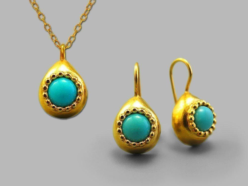 Elegant Blue Gold Jewelry Set Teardrop Genuine Blue Green Turquoise Gemstones Handmade Necklace Earrings December Birthstone Bohemian Ethnic Native American Southwestern Unique Gifts For Women