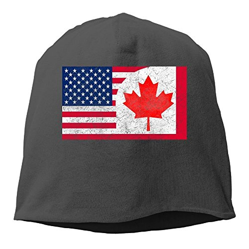 Canada US Friendship Flag Combination United States America Canadian Unisex Casual Fashion Durable Winter Warm Knit (Military Tweed Hat)