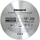Concord Blades PLY1000T200HP 10-Inch 200 Teeth Plywood Steel Saw Blade